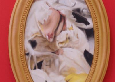 Médaillon Roses roses & jaune, Charles et sa sœur